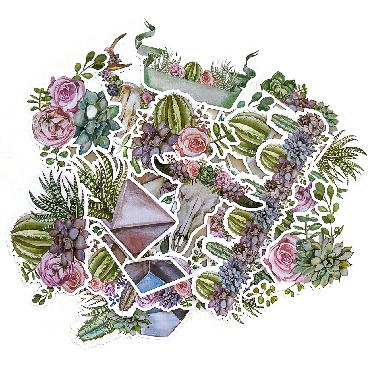 Navy Peony Geometric Terrarium Cactus and Succulent Stickers | Cool Decals for Laptops and Water Bottles and Phone Cases | Sticker Packs for Your Scrapbook, Planners and Bullet Journals (15 pieces)