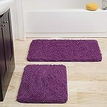Lavish Home 2 Piece Memory Foam Shag Bath Mat - Blue Purple
