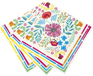 Talking Tables Boho Floral Tea Party Napkins, Pink Blue Yellow