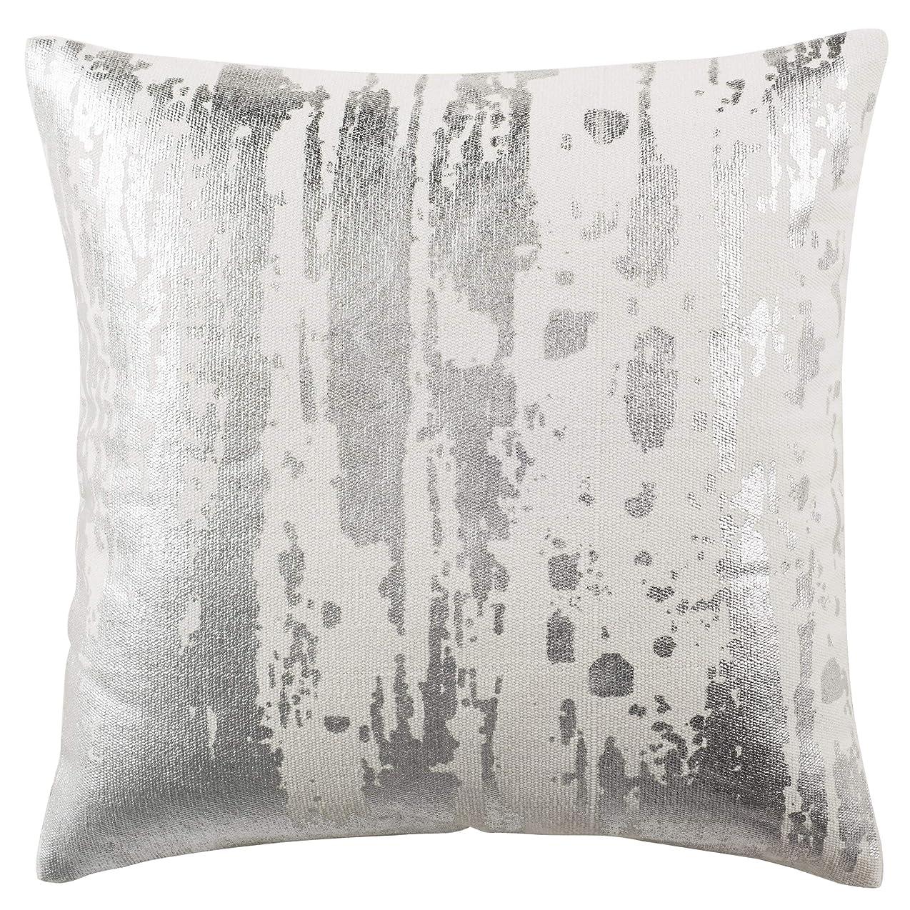 頬骨たらい硫黄SafaviehメタリックSplatter装飾枕 20 x 20 ホワイト PLS954A-2020