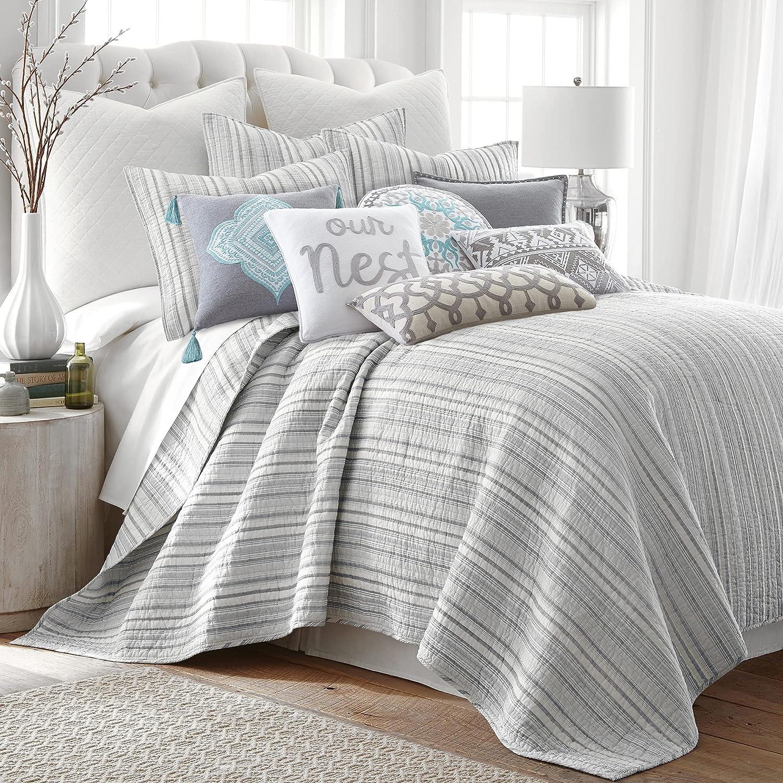 quality assurance Levtex Bondi Max 77% OFF Stripe Grrey Full Queen Str Quilt Cotton Set Grey