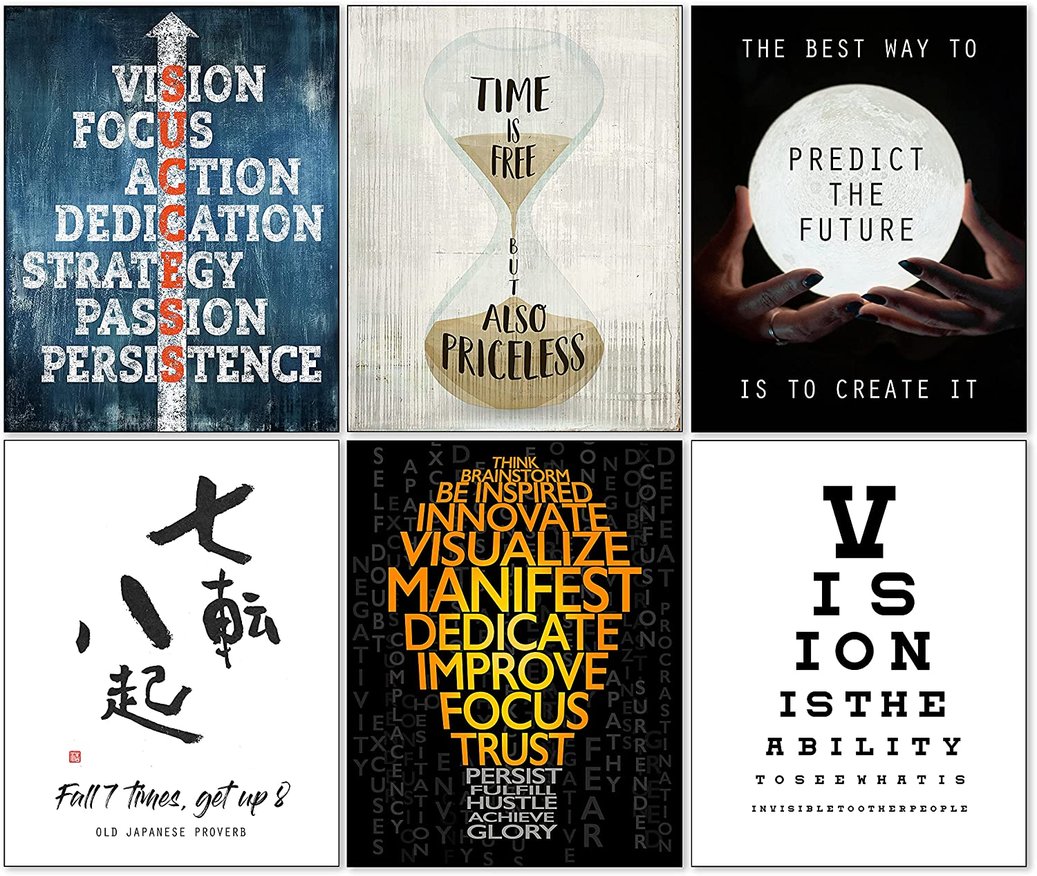 Motivational Wall Art for Office Decor & Home Positive Inspirational Quotes Posters 11x14 in. (Unframed Prints) Set of 6