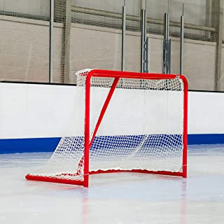 Forza Hockey Goals (6ft x 4ft) | Regulation Or Professional Hockey Goals | Galvanized Steel Frame | Professional 5mm Thick Net with 42mm Mesh | Traditional Red Frame with White Netting