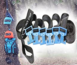 Live Infinitely Outdoor Equipment Gear Hanger Camping Accessories- 9' Pack Strap for Around Trees or Branches with 6 Aluminum Fully Adjustable T Hooks- Easily Hang 80Lbs of Gear from Each Hook