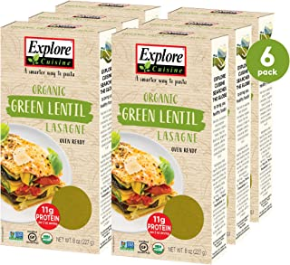 Explore Cuisine Organic Green Lentil Lasagne (6 Pack) - 8 oz - Easy to Make Gluten-Free Pasta - High in Plant-Based Protei...