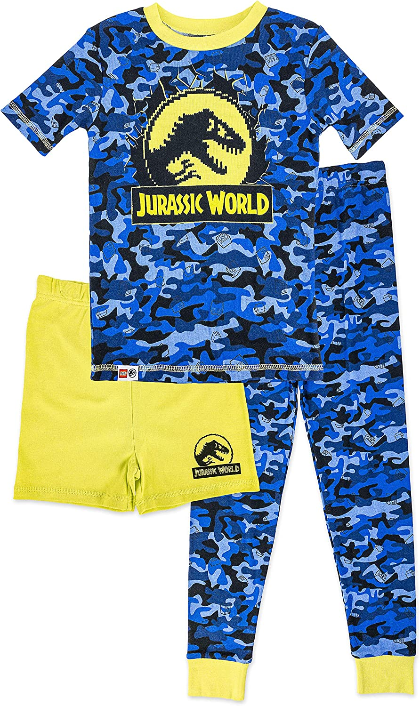 LEGO Jurassic World Boys Dinosaur Pajamas, 3pc Cotton PJs for Kids,with Pajama Shorts,Boys size 4 to 10
