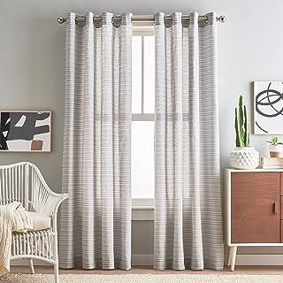 "Peri Home Semi-Sheer Cargo Stripe Grommet Window Curtain Panel Pair, 84"", Silver"