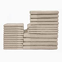 Baltic Linen Multi Count 100% Cotton Towels, 4 Bath Towels, 4 Hand Towels, 4 Fringed Fingertips, 12 Washcloths, Taupe, 24 ...