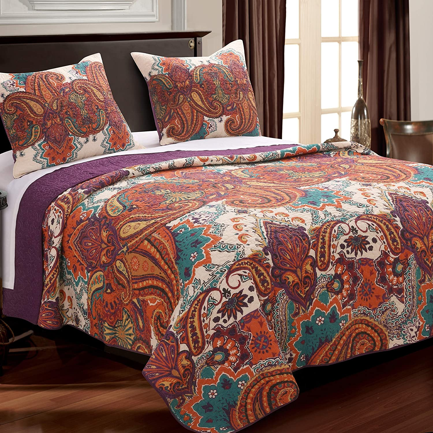 Greenland Home Nirvana Quilt Set, Full Queen, Spice