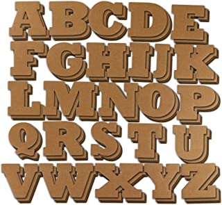 Cardboard Letters – 104-Piece Alphabet Letters, Decorative Cardboard Alphabet for Children, Crafts, Home Decor, DIY Projects, 4 of Each Letter, Brown, 4.5 x 3 inches