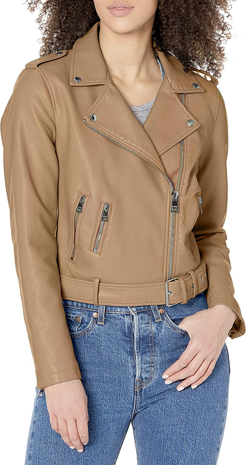 Levi's womens Faux Leather Belted Motorcycle Jacket (Standard and Plus Sizes)