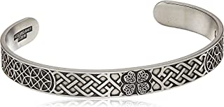 Alex and Ani Men's Four Leaf Clover Cuff Bracelet, Rafaelian Silver, Expandable