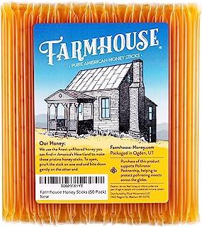 Farmhouse Honey Sticks, All Natural Real American Honey Stix, Easy to Open Honey Straws for Tea (50 Pack)