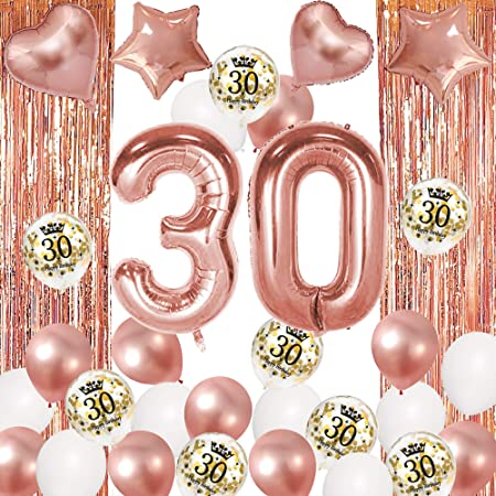 "Age 30//30th Birthday 6 Rose Gold /& White Glitz 12/"" Latex Balloons"