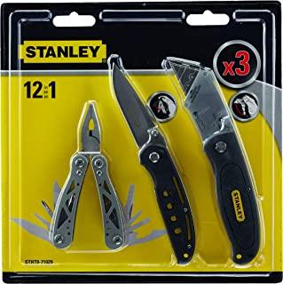 Stanley 3 piece Multi Tool Set with Pocket Knife, Black - STHT0-71029