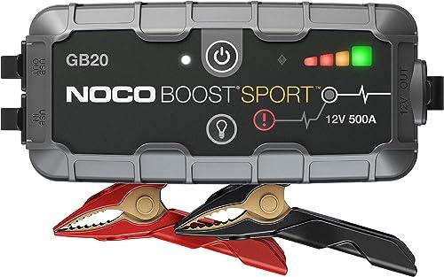 NOCO Boost Sport GB20, Arrancador de Batería UltraSafe 500A 12V, Cargador de Booster Profesional y Cables de Arranque...