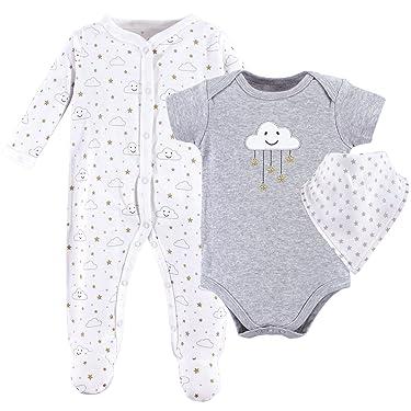 Hudson Baby Unisex Cotton Sleep and Play, Bodysuit and Bandana Bib Set