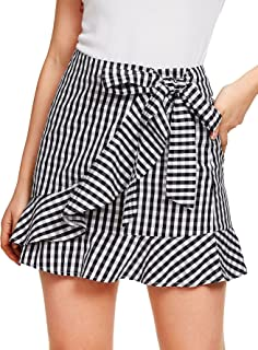 bd5cf2ba14 SheIn Women's Cute Ruffle Hem High Waist Bow Knot Plaid Mini Skirt