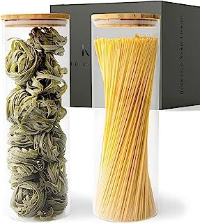 KIVY® Set Bocaux en Verre [2 x 1800 ml] - Bocaux Rangement Cuisine Haute Qualité avec Couvercles en Bambou Durable - Bocau...