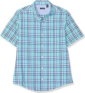 6f1b7c2430 Izod Men's Breeze Poplin Plaid Ss Shirt Casual