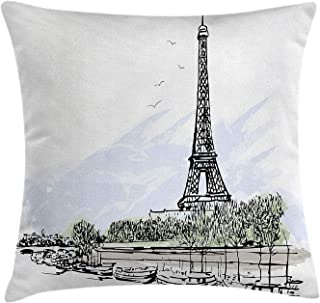 Paris Throw Pillow Cushion Cover, Architecture Theme Illustration of Eiffel Tower Birds and Trees Pattern Print, Decorative Square Accent Pillow Case, 18 X 18 Inches, Black and White