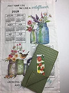 2018 Wildflowers Calendar Towel & Drying Mat Bundle Mason Jar Kitchen Linen Calendar Towel and Dish Drying Mat 3 Piece Bundle