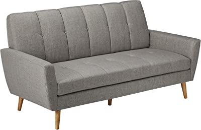 Christopher Knight Home Treston Mid-Century Fabric Sofa, Grey / Natural