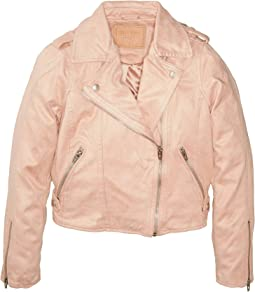 Faux Sueded Pink Moto Jacket (Big Kids)