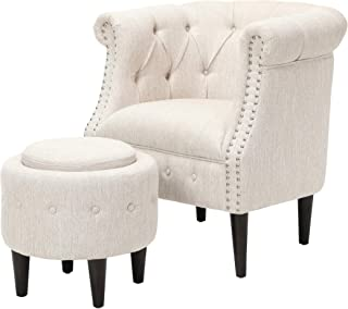 Leila Petite Tufted Fabric Chair and Ottoman Set, Beige and Dark Brown