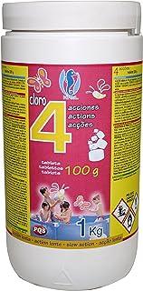 PQS – 167322 Cloro en pastillas 4 Acciones: Desinfeccion- Estabilizador de Cloro- Algicida y Floculante. Tabletas 100 gr. Bote 1 Kg.