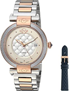 GV2 by Gevril Berletta Womens Diamond Swiss Quartz With Additional Leather Band Two Tone Stainless Steel Bracelet Watch, (Model: 1505)