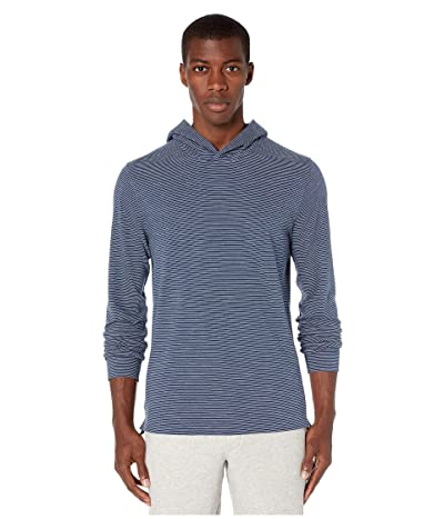 Vince Striped Pullover Hoodie (Coastal/Optic White) Men