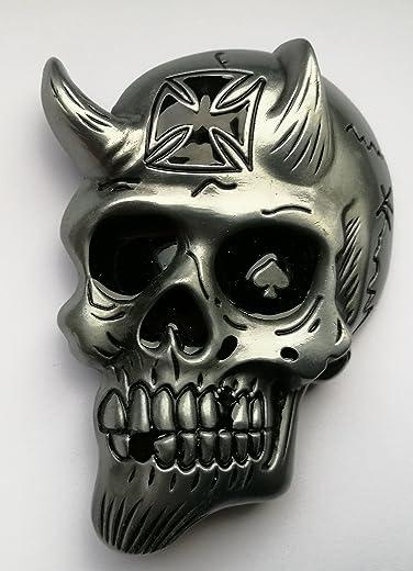 Choppershop Diablo Calavera Cruz Hebilla de cinturón de Metal