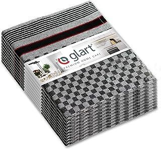 Glart (Exclusive Lot de 10 Torchons en Coton Noir/Blanc 50 x 70 cm
