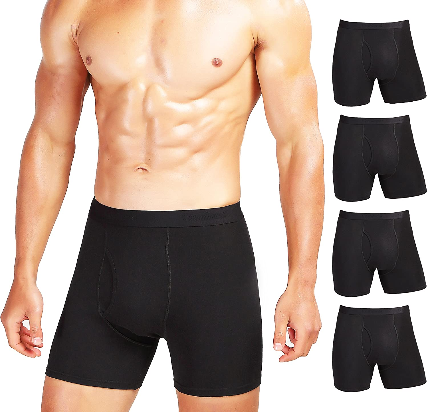 Comfneat Men's 5 or 7-Pack Boxer Briefs Cotton Spandex Tagless Comfy Underwear Soft Stretchy