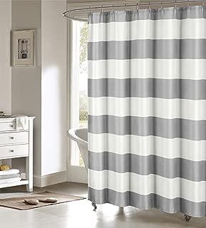 Kensie Toto Nautical Striped Cotton Blend Mildew Resistant Fabric Shower Curtain Liner For Bathroom Waterproof   Water Repellent & Antibacterial - Assorted Colors, 70