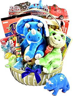 You are Dino-mite! A Dinosaur Themed Gift Basket For Children With Two Plush Dinosaurs, Dino Truck, Dinosaur Eggs Candy & More.
