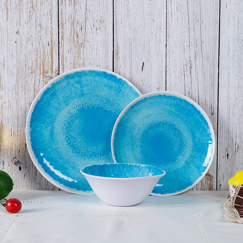 Melamine Dinnerware Set For 4 12pcs Dinnerware Dishes Set For Indoor And Outdoor Use Dishwasher Safe Blue