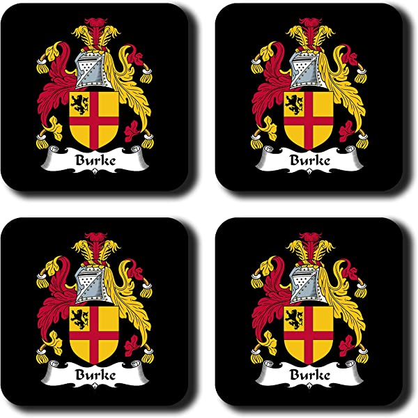 Burke Coat Of Arms Family Crest Coaster Set By Carpe Diem Designs Made In The U S A