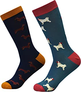 thought - Men's Blissfully Soft Bamboo Dog Breeds Socks - Pack of 2 Pairs, Blue/Navy