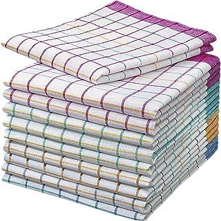 10 Stück Geschirrtücher -100% Baumwolle Karo - 60 Grad Wäsche 50 x 70 cm
