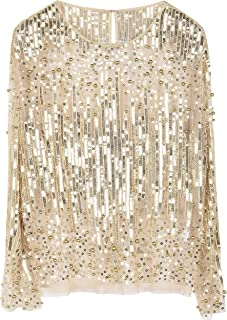 Women's Sequin Blouse See Through Party Tops Beaded Sparkly Shirts