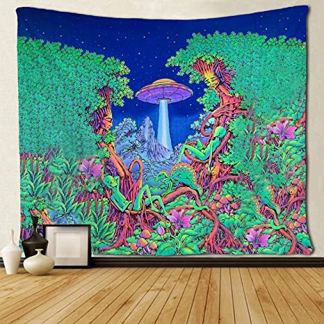 Amazon Com Sara Nell Magical Trippy Psychedelic Tapestry Forest Tree Alien Dinosaur Mushroom Ufo Spaceship Tapestries Wall Hanging Hippie Art 50x60 Inches Home Decoration Dorm Decor For Living Room Bedroom Home Kitchen