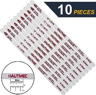 HAUTMEC Hacksaw Replacement Blades BI-METAL (10 Pack) High Speed Steel Grounded Teeth 32 TPI x 12