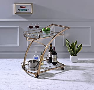 Kings Brand Furniture - Delfair Rolling Bar Kitchen Serving Cart, Metal/Glass, Gold