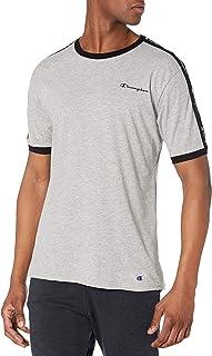 Champion Men's Athletics Sleep Knit Shirt, Oxford Grey Heather with New Ebony Trim, S