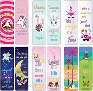 Creanoso Cool and Amazing Unicorn Bookmarks (30-Pack) – Stocking Stuffers Gift for Girls – Party Favors Supplies – School Classroom Giveaways – Book Reading Rewards Incentive – Girl's Party Supply