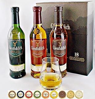 Glenfiddich Single Malt Whisky 3 Flaschen je 200ml  Glas  9 Edel Schokoladen in 9 Sorten