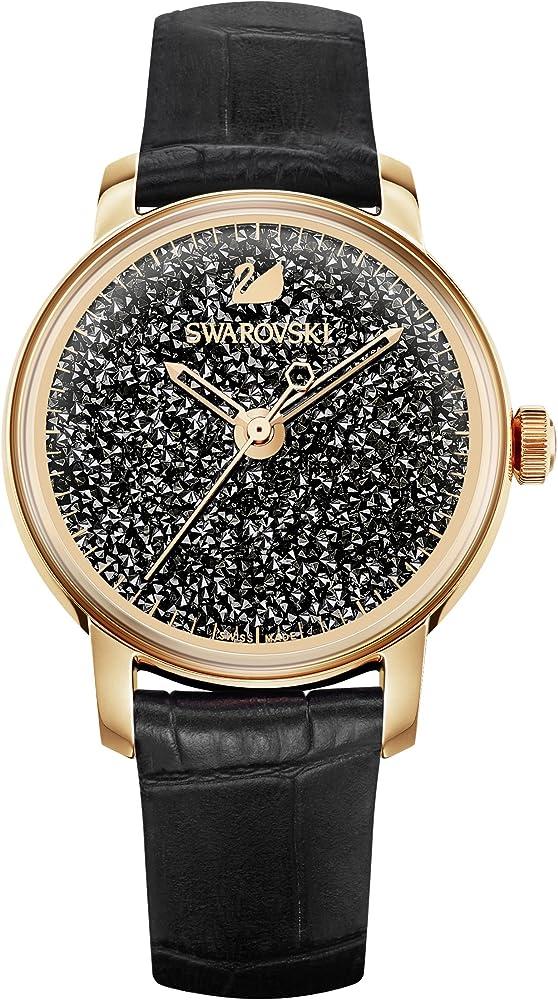 Swarovski orologio crystalline hours cinturino in pelle nero, pvd tonalità oro rosa, da donna 5295377