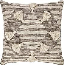 Stone & Beam Modern Tassel Diamond Throw Pillow - 18 x 18 Inch, Black / White